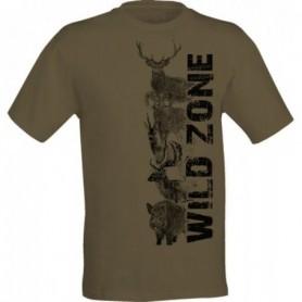 T-Shirt Wild Zone with Wild Animal Print (Light Green)
