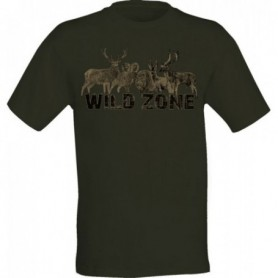 T-Shirt Wild Zone with Wild Animal Print (Dark Green)