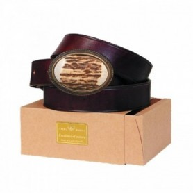 Leather Belt with Antler Buckle 3 cm