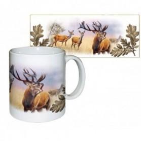 Ceramic Mug with Roaring Deer Print