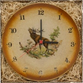 Wall clock with deer illustration (23cm)