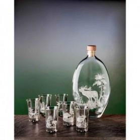 Engraved bottle and 6 shot glass set